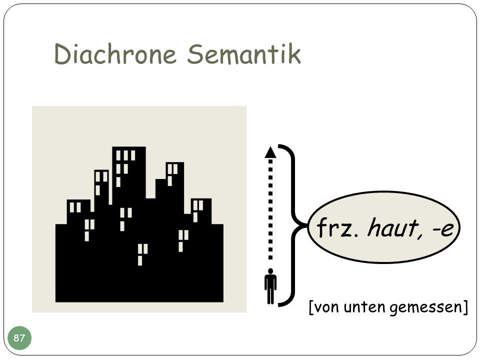 Diachrone Semantik  frz. haut, -e  [von unten gemessen]